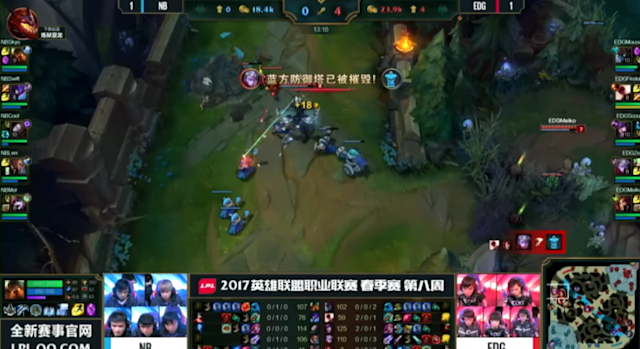 EDward Gaming took all Tier 1 turrets prior to the 14 minute mark in Game 3 (lolesports)