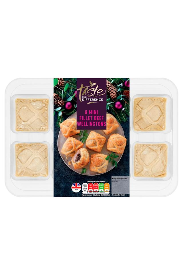 "<p>These golden, puff pastry bites are intricately decorated and contain an enticing layer of mushroom on a chunk of beef. Whilst they are a little too large for one bite, the crisp, buttery pastry and earthy, mushroom makes it totally worth two. The juicy mushroom compensates for a slightly dry beef slice.</p><p><strong><a class=""body-btn-link"" href=""https://food-to-order.sainsburys.co.uk/category/christmasfood/home"" target=""_blank"">BUY NOW</a></strong> <strong>Sainsbury's, £5.50 for 340g (pack 8)</strong></p>"