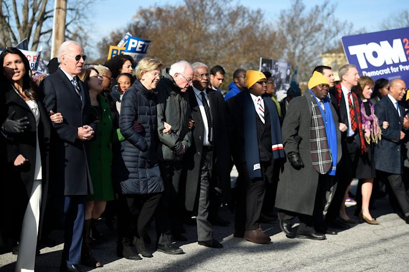 Most of the Democrats seeking their party's presidential nomination marched in a Martin Luther King Jr. Day rally on Monday in Columbia, South Carolina. (Photo: ASSOCIATED PRESS)