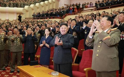 Kim, Ri and his North Korea generals attending an art performance dedicated to nuclear scientists Credit: AFP