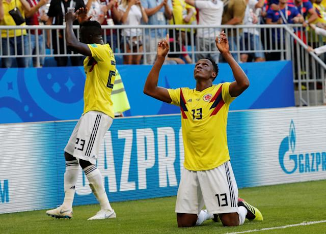 Colombia won 2018 World Cup Group H on Yerry Mina's second-half header against Senegal. (Reuters)