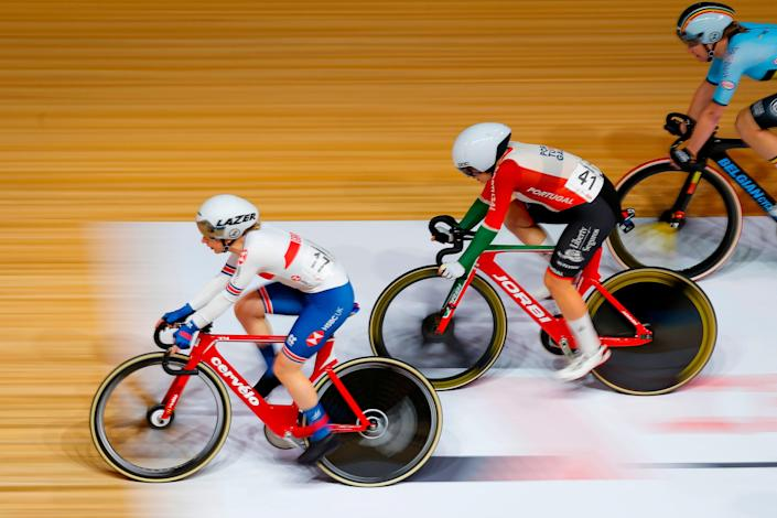 Great Britain's Laura Kenny competes in the Women's Omnium Tempo Race during the UCI track cycling World Championship (AFP)