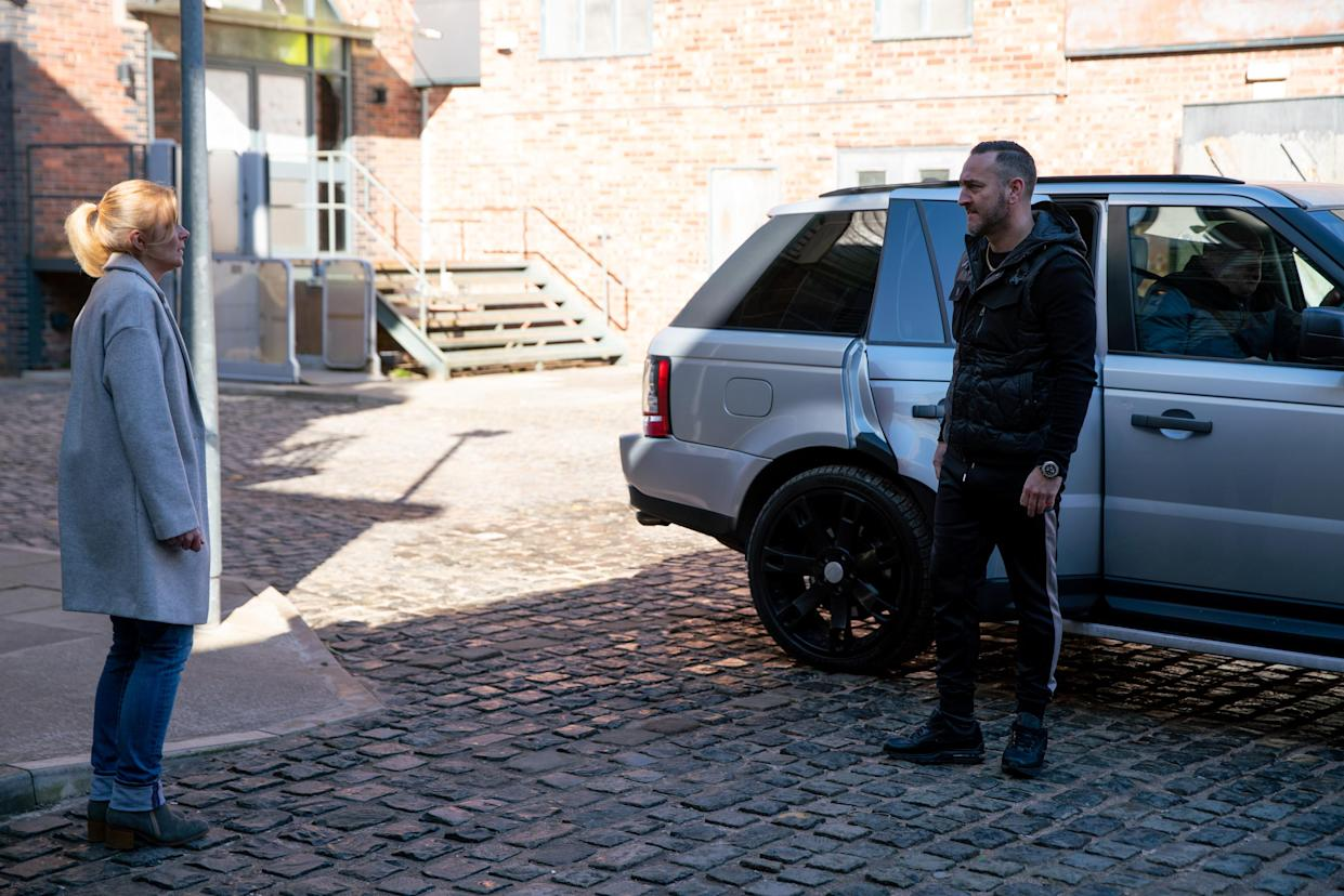 FROM ITV  STRICT EMBARGO - No Use Before Tuesday 30th March 2021  Coronation Street - Ep 10294  Wednesday 7th April 2021 - 2nd Ep  Harvey [WILL MELLOR] tells Leanne Tilsley [JANE DANSON] he was set up and someone grassed him up.  With little choice, Leanne admits it was her.   Picture contact David.crook@itv.com   Photographer - Danielle Baguley  This photograph is (C) ITV Plc and can only be reproduced for editorial purposes directly in connection with the programme or event mentioned above, or ITV plc. Once made available by ITV plc Picture Desk, this photograph can be reproduced once only up until the transmission [TX] date and no reproduction fee will be charged. Any subsequent usage may incur a fee. This photograph must not be manipulated [excluding basic cropping] in a manner which alters the visual appearance of the person photographed deemed detrimental or inappropriate by ITV plc Picture Desk. This photograph must not be syndicated to any other company, publication or website, or permanently archived, without the express written permission of ITV Picture Desk. Full Terms and conditions are available on  www.itv.com/presscentre/itvpictures/terms