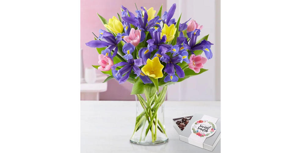 Fanciful Spring Tulip & Iris Bouquet (Photo: 1800Flowers)
