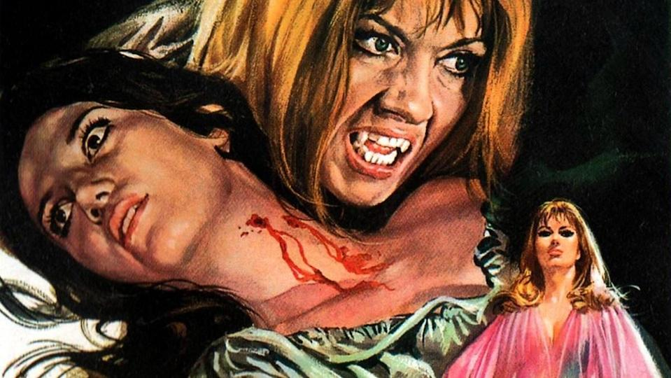 Ingrid Pitt's Carmilla looms over a victim's neck on the poster for Hammer's The Vampire Lovers.