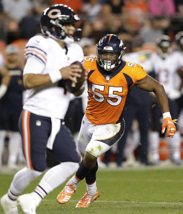 File-This Aug. 18, 2018, file photo shows Denver Broncos linebacker Bradley Chubb (55) pursuing Chicago Bears quarterback Chase Daniel (4) during the first half of a preseason NFL football game in Denver. Von Miller went bonkers when Chubb fell to the Denver Broncos with the fifth pick in the NFL draft. Chubb not only takes pressure off Miller, who hasn't been back to the playoffs since winning Super Bowl 50 MVP honors, but he bolsters what was already a dynamic Denver pass rush that gives opponents fits and covers a whole lot of warts in the Broncos' beleaguered secondary. (AP Photo/Jack Dempsey, File)