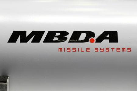 FILE PHOTO: The logo of MBDA Missile Systems is seen at Euronaval, the world naval defence exhibition in Le Bourget near Paris, France, October 23, 2018. REUTERS/Benoit Tessier/File Photo