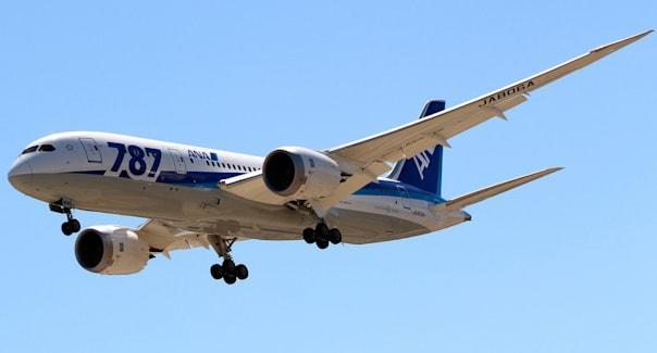 San Jose, California USA - June 2, 2013 Dreamliner Boeing 787 resumes service between San Jose and Tokyo after the FAA halted al