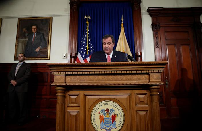 New Jersey Gov. Chris Christie speaks during a news conference Thursday, Jan. 9, 2014 at the Statehouse in Trenton. N.J. Christie has fired a top aide who engineered political payback against a town mayor, saying she lied. Deputy Chief of Staff Bridget Anne Kelly is the latest casualty in a widening scandal that threatens to upend Christie's second term and likely run for president in 2016. Documents show she arranged traffic jams to punish the mayor, who didn't endorse Christie for re-election. (AP Photo/Matt Rourke)