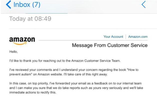 The protests have been heard, with Amazon emailing Gillian a response. Photo: change.org