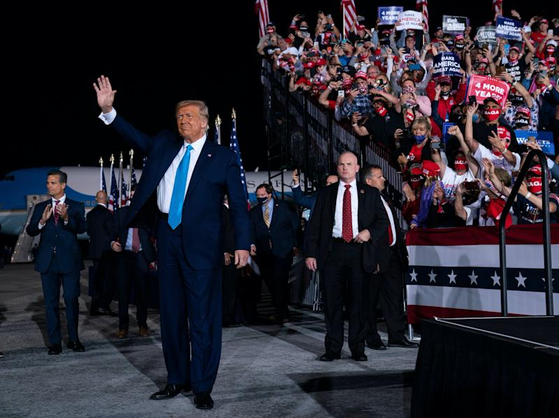 President Trump arrives at a campaign rally in Middletown, Pennsylvania, after nominating what would be his third Supreme Court appointment. (AP)