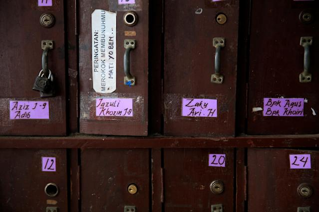 <p>Student's lockers are seen at Lirboyo Islamic boarding school in Kediri, Indonesia, May 18, 2018. (Photo: Beawiharta/Reuters) </p>