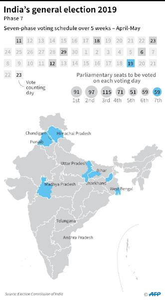 A graphic showing areas voting during phase 7 on Sunday, May 19. (AFP Photo/Laurence CHU)