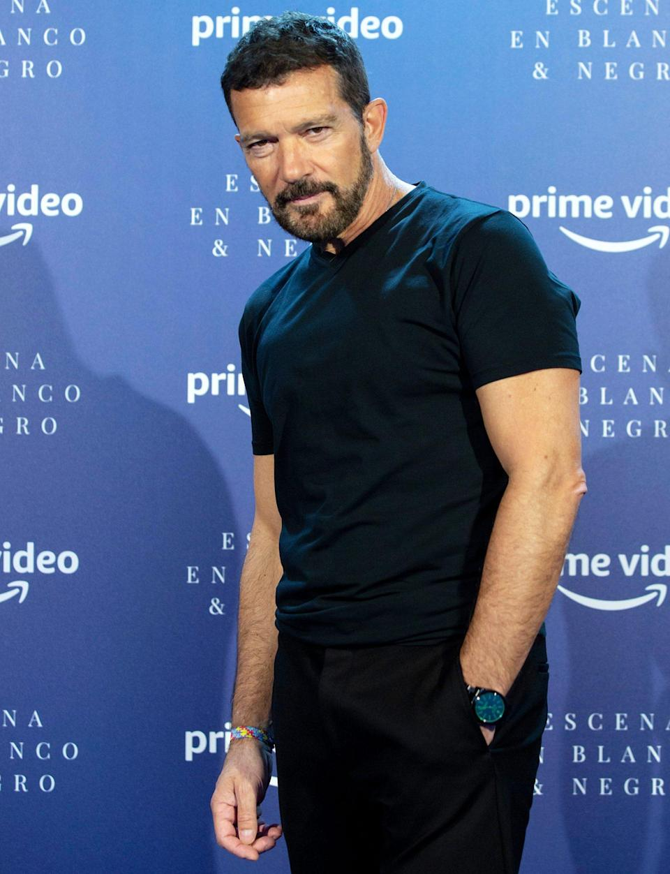 <p>Antonio Banderas strikes a pose at an Amazon Prime Video Event on Tuesday in Malaga, Spain. </p>