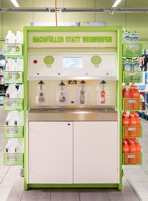 Pictured is the detergent refill station inside a Migros supermarket.