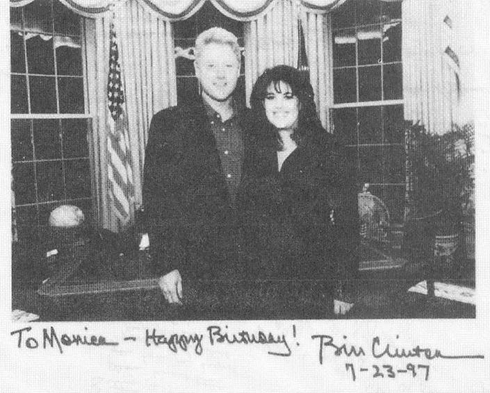 Photo released by the House Judiciary Committee in Washington, DC, shows US President Bill Clinton with former intern Monica Lewinsky in the Oval Office of the White House (AFP Photo/)