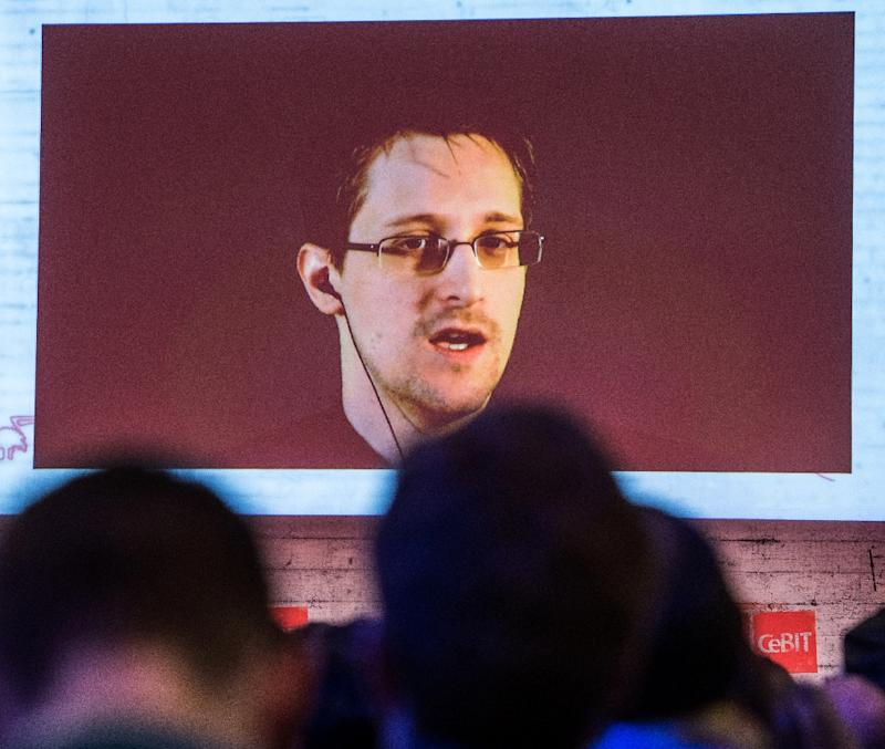 Former security contractor Edward Snowden, pictured on March 18, 2015 via a live video call, won a Norwegian prize for freedom of expression Tuesday and received yet another invitation to leave his exile and receive the award in person