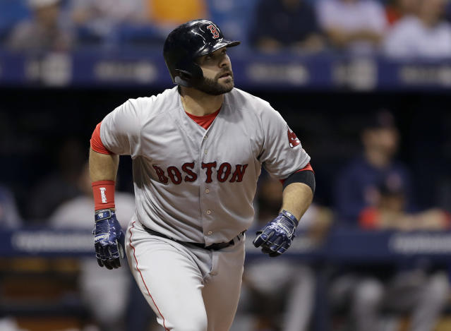 "<a class=""link rapid-noclick-resp"" href=""/mlb/teams/bos"" data-ylk=""slk:Boston Red Sox"">Boston Red Sox</a>'s <a class=""link rapid-noclick-resp"" href=""/mlb/players/8772/"" data-ylk=""slk:Mitch Moreland"">Mitch Moreland</a> highlights this week's look at fantasy baseball pickups (AP Photo)."