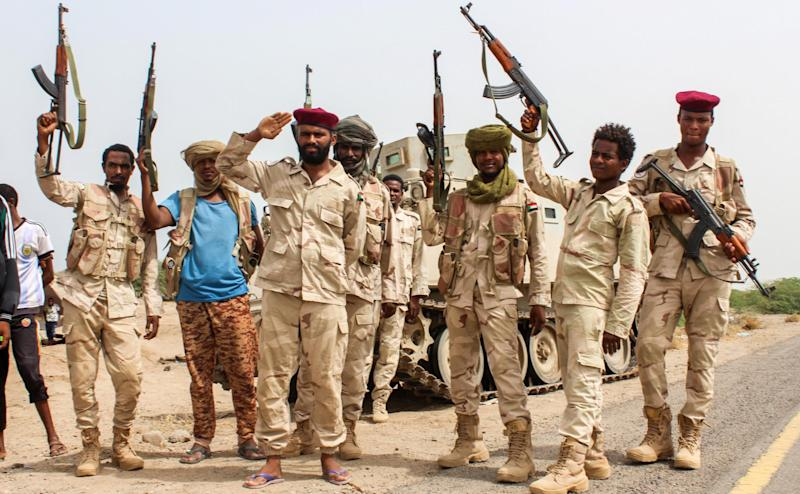 Sudanese soldiers fighting alongside Yemen's Saudi-backed pro-government forces against the Houthi rebels near Al-Jah, southwest of the Red Sea port city of Hodeidah: AFP/Getty