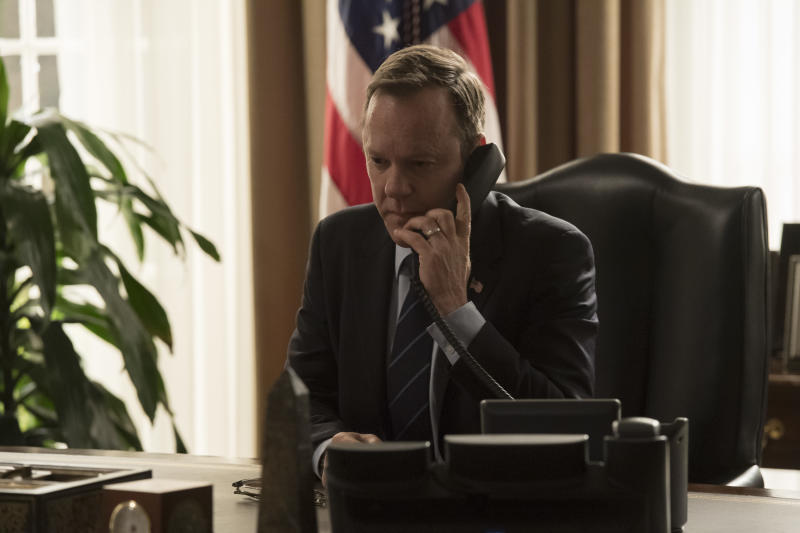 """DESIGNATED SURVIVOR - """"Kirkman Agonistes"""" - As more content from President Kirkman's confidential therapy sessions continues to leak out, Vice President Darby meets secretly with the entire Cabinet, resulting in attorney Ethan West (Michael J. Fox) looking into the president's past - while playing a large role in his future as commander in chief, on Walt Disney Television via Getty Images's """"Designated Survivor,"""" WEDNESDAY, APRIL 18 (10:00-11:00 p.m. EDT), on The Walt Disney Television via Getty Images Television Network. (Ben Mark Holzberg via Getty Images) KIEFER SUTHERLAND"""