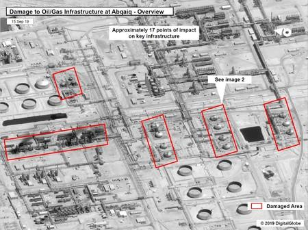A satellite image showing damage to oil/gas Saudi Aramco infrastructure at Abqaiq
