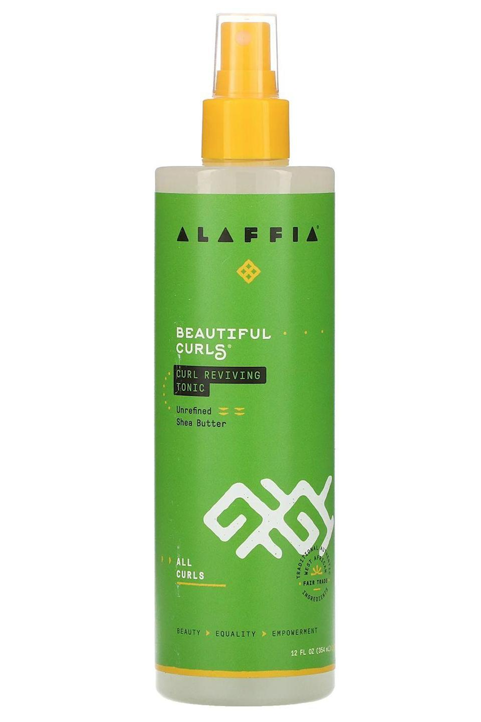 """<p>alaffia.com</p><p><strong>$12.99</strong></p><p><a href=""""https://www.alaffia.com/products/curl-reviving-tonic-12fl-oz"""" rel=""""nofollow noopener"""" target=""""_blank"""" data-ylk=""""slk:Shop Now"""" class=""""link rapid-noclick-resp"""">Shop Now</a></p><p>If you need to push off wash day a little bit longer and your <a href=""""https://www.cosmopolitan.com/style-beauty/beauty/news/a34577/curly-hair-hacks/"""" rel=""""nofollow noopener"""" target=""""_blank"""" data-ylk=""""slk:curls"""" class=""""link rapid-noclick-resp"""">curls</a> are dying of thirst, hit them with a spritz of this Black-owned hair product. The <strong>conditioning combo of shea butter and aloe vera brings bounce,</strong> adds <em>just </em>the right amount of hold to keep your curls at attention, and leaves your hair with a refreshing scent.</p>"""