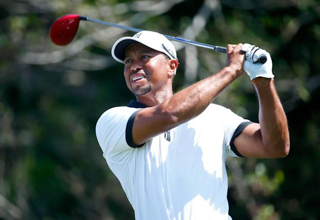 PALM BEACH GARDENS, FL - FEBRUARY 26: Tiger Woods plays a shot during the pro-am round for The Honda Classic at PGA National Resort and Spa on February 26, 2014 in Palm Beach Gardens, Florida. (Photo by Sam Greenwood/Getty Images)
