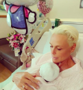 <p>Brigitte Nielson gave birth to her fifth child last week, with her husband Mattia Dessishared and has now shared the first image of the tot, alongside her sweet name.<br>Looking serene, the 54-year-old gently cradled her daughter, who the couple have decided to name Frida, while still in her hospital bed. Frida is the reality TV star's first daughter and will join big brothers, Julian 34, whom she has with first husband Kasper Winding, 28-year-old Killian with Mark Gastineau, and 25-year-old Douglas and 23-year-old Raoul Jr., whom she shares with fourth husband Raoul Mayer. <em>[Photo: Instagram/realbrigittenielson]</em> </p>
