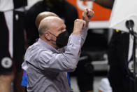 Los Angeles Clippers owner Steve Ballmer celebrates during the second half in Game 3 of the NBA basketball Western Conference Finals against the Phoenix Suns Thursday, June 24, 2021, in Los Angeles. (AP Photo/Mark J. Terrill)