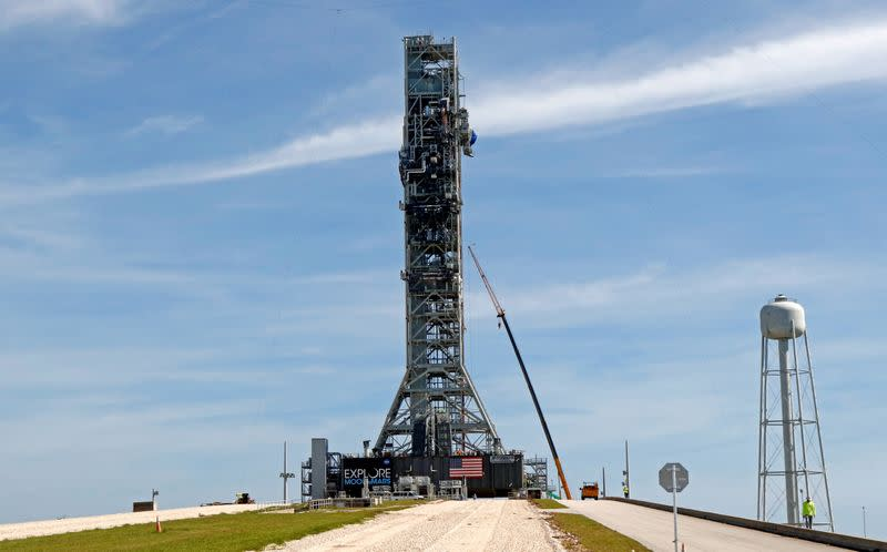 FILE PHOTO: NASA's Space Launch System mobile launcher stands atop Launch Pad 39B at the Kennedy Space Center in Cape Canaveral