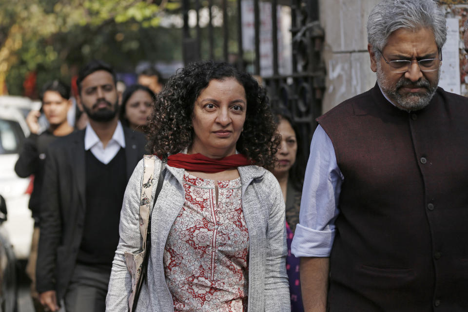 Senior journalist Priya Ramani seen outside the Patiala House Court after getting bail in a defamation case filed by former MJ Akbar on February 25, 2019 in New Delhi. (Photo by Sanchit Khanna/Hindustan Times via Getty Images)