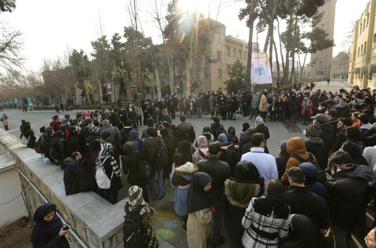Iranian students gather for a demonstration over the downing of a Ukrainian airliner at Tehran University on Tuesday, in a fourth day of protests in the capital