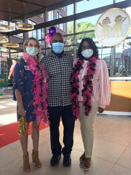 PHOTO: Susan Ellis and Rodney and Tia Wimbush pose together at a welcome back ceremony at Children's Healthcare of Atlanta. (Children's Healthcare of Atlanta)