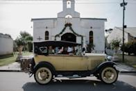 The exquisite 1930 Ford T in front of the Juan Anchorena church.