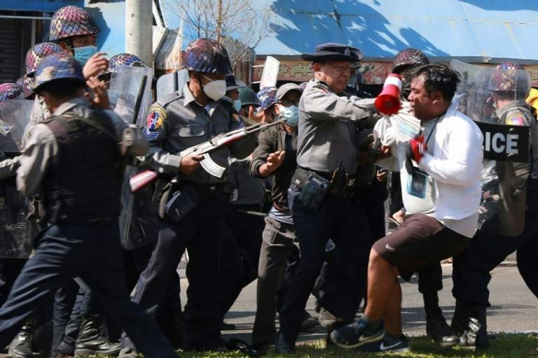 Demonstrations in Myanmar have largely been peaceful, but police fired rubber bullets on students while dispersing a sit-down protest in the city of Mawlamyine