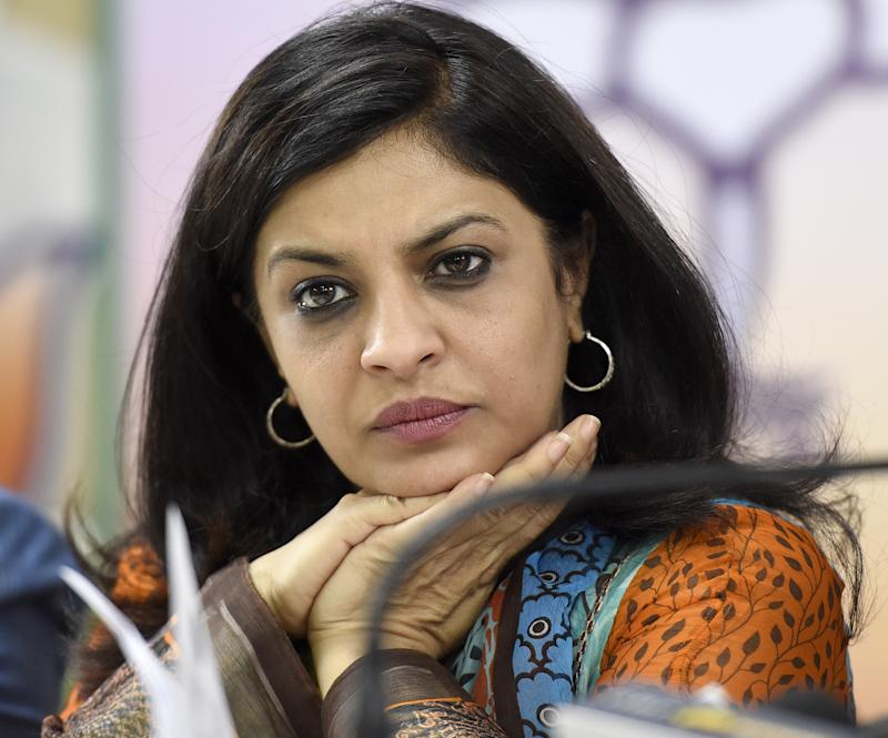 NEW DELHI, INDIA - MARCH 23: BJP Vice President Shazia Ilmi addresses media persons over certain issue related to ruling AAP's misconduct and other election related issue at Delhi BJP office on March 23, 2017 in New Delhi, India. (Photo by Sonu Mehta/Hindustan Times via Getty Images)