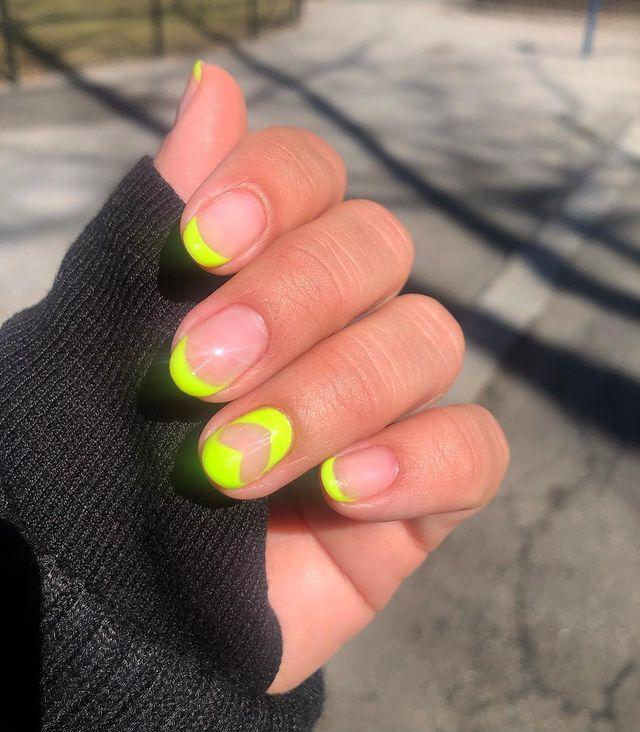 "<p>Bring your French mani bang up to date with an attention-grabbing neon yellow shade.</p><p><a href=""https://www.instagram.com/p/BvyxcFulJas/"" rel=""nofollow noopener"" target=""_blank"" data-ylk=""slk:See the original post on Instagram"" class=""link rapid-noclick-resp"">See the original post on Instagram</a></p>"