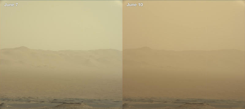 This combination of images made by NASA's Curiosity rover shows the rim of the Gale Crater on June 7 and 10, 2018 during a major dust storm. The Opportunity rover, which is inside the crater, has fallen silent as the storm blots out the sun. On Tuesday, June 12, 2018, flight controllers tried to contact Opportunity, but the rover did not respond. The storm has been growing since the end of May and now covers one-quarter of the planet. (NASA/JPL-Caltech/MSSS via AP)