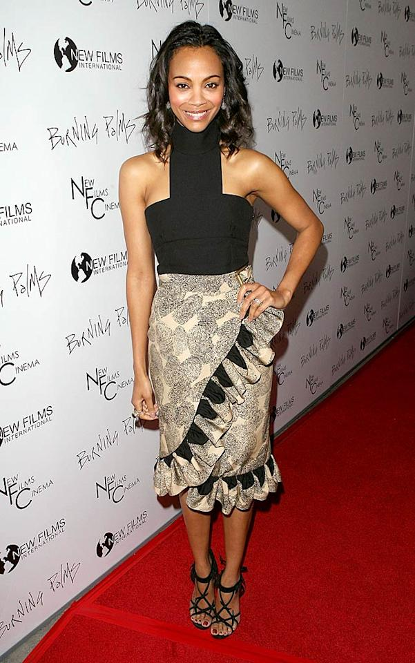 """Avatar"" star Zoe Saldana can get away with wearing just about anything ... except for this ruffled Yves St. Laurent mess of a dress, which she sported to the premiere of ""Burning Palms"" at ArcLight Cinemas on Sunset Boulevard in Hollywood, California. Jesse Grant/<a href=""http://www.wireimage.com"" target=""new"">WireImage.com</a> - January 12, 2011"