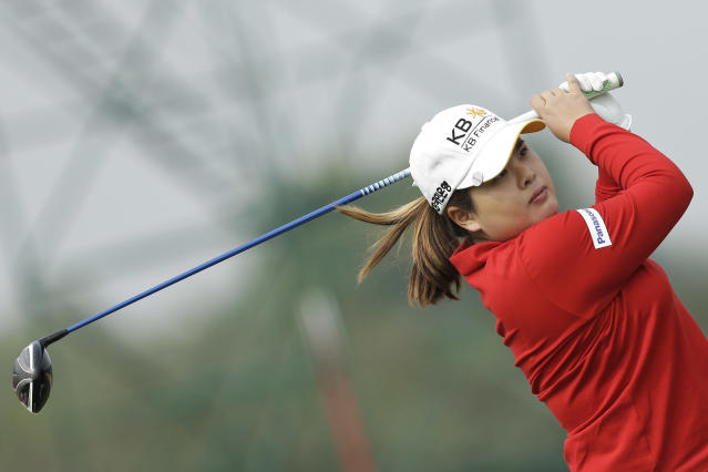 Inbee Park of South Korea tees off on the forth hole during the second round of the Reignwood LPGA Classic golf tournament at Pine Valley Golf Club on the outskirts of Beijing, China, Friday, Oct. 4, 2013. (AP Photo/Alexander F. Yuan)