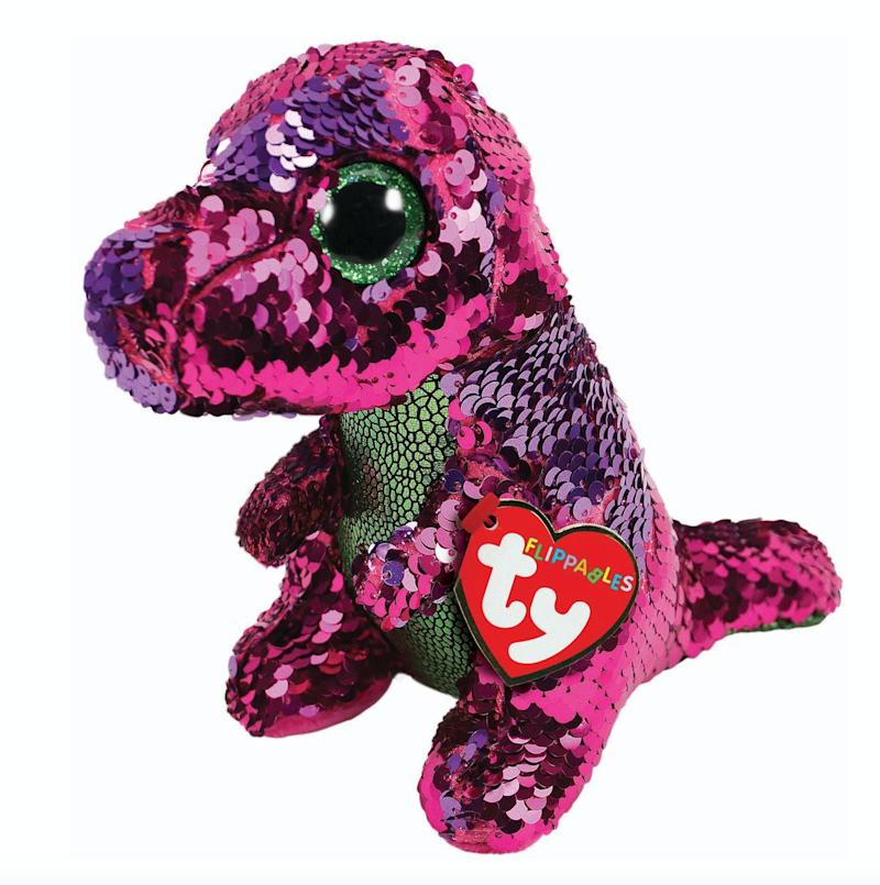 """Remember beanie babies? They're back, but this time with sequins. Stroke the plush toy one way to reveal one sequin colour, then to other way to reveal another.<br />Price: &pound;8<br />Ages: 3+<br /><a href=""""http://www.hamleys.com/ty-diamond-unicorn-sequin-flippable-boo.ir"""" target=""""_blank"""" rel=""""noopener noreferrer"""">Click here to buy.</a>"""