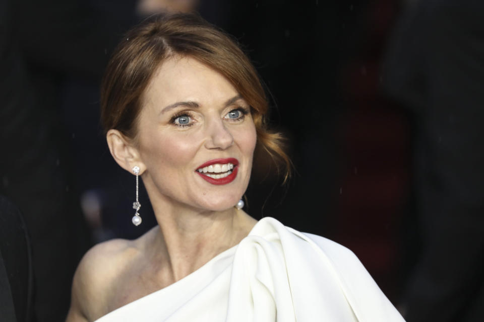 Geri Halliwell poses for photographers upon arrival for the World premiere of the new film from the James Bond franchise 'No Time To Die', in London Tuesday, Sept. 28, 2021. (Photo by Vianney Le Caer/Invision/AP)
