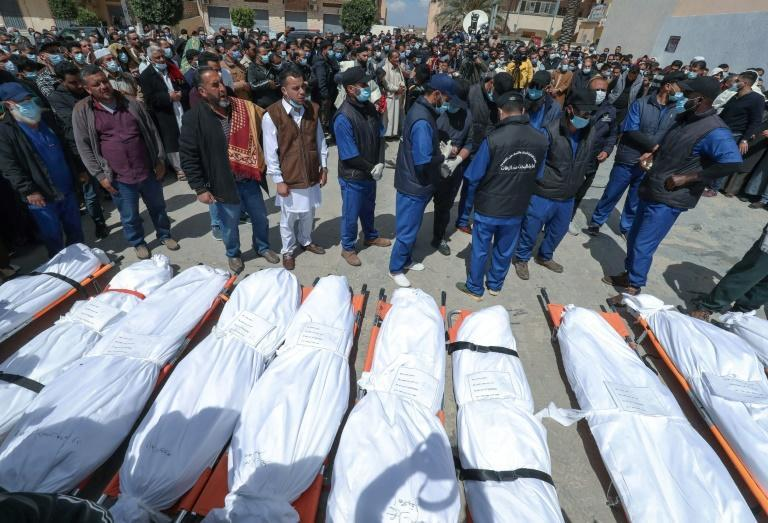 A funeral for 12 people found in mass graves in Tarhuna town, southeast of the capital
