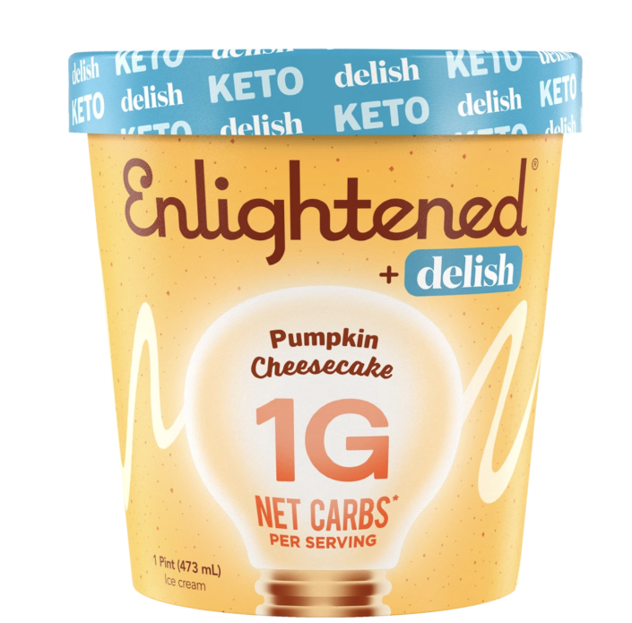 """<p><strong>keto</strong></p><p>eatenlightened.com</p><p><strong>$8.00</strong></p><p><a href=""""https://eatenlightened.com/collections/keto/products/keto-pumpkin-cheesecake"""" rel=""""nofollow noopener"""" target=""""_blank"""" data-ylk=""""slk:Shop Now"""" class=""""link rapid-noclick-resp"""">Shop Now</a></p><p>Our latest collaboration with Enlightened is <a href=""""https://www.delish.com/food-news/a33971430/delish-enlightened-keto-pumpkin-cheesecake-peppermint-brownie/"""" rel=""""nofollow noopener"""" target=""""_blank"""" data-ylk=""""slk:this keto-friendly seasonal ice cream"""" class=""""link rapid-noclick-resp"""">this keto-friendly seasonal ice cream</a> that's out of this world delicious. You'll want spoonful after spoonful of this super yummy pumpkin ice cream with a delightful cream cheese swirl. Best of all is it has only one gram of net carbs per serving.</p>"""