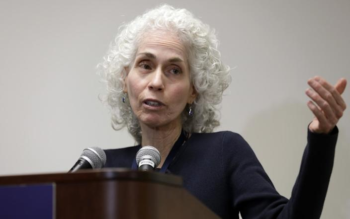 "Barbara Ferrer, director of the Los Angeles County Department of Public Health, gives her daily coronavirus update Tuesday. <span class=""copyright"">(Myung J. Chun / Los Angeles Times)</span>"