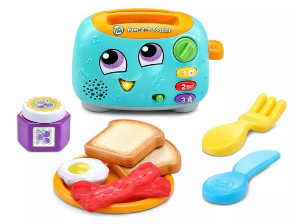 """Great forlearning all about numbers, colors and the most important meal of the day!Requires two AAA batteries.<br /><br /><strong>Promising review:</strong>""""Adorable! My 18-month-old loves this little toy! He loves making the toast up and pretending to eat the food. Great quality toy and well made. Very cute."""" --<a href=""""https://go.skimresources.com?id=38395X987171&xs=1&url=https%3A%2F%2Fwww.target.com%2Fp%2Fleapfrog-yum-2-3-toaster%2F-%2FA-79406284&xcust=HPToddlerBirthday60919842e4b02e74d22c817c"""" target=""""_blank"""" rel=""""noopener noreferrer"""">Beth</a><br /><br /><strong>Get it from Target for <a href=""""https://go.skimresources.com?id=38395X987171&xs=1&url=https%3A%2F%2Fwww.target.com%2Fp%2Fleapfrog-yum-2-3-toaster%2F-%2FA-79406284&xcust=HPToddlerBirthday60919842e4b02e74d22c817c"""" target=""""_blank"""" rel=""""noopener noreferrer"""">$14.99</a>.</strong>"""