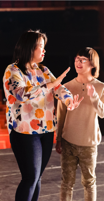 Jean Loo (left), inclusive arts educator, and Timothy Lee, actor-dancer with Down's Syndrome. (PHOTO: SidexSide Photography)