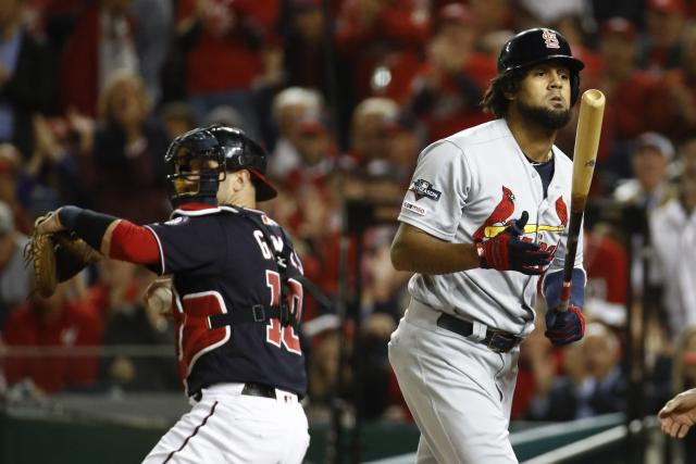 St. Louis Cardinals' Jose Martinez reacts after striking out during the first inning of Game 4 of the baseball National League Championship Series against the Washington Nationals Tuesday, Oct. 15, 2019, in Washington. (AP Photo/Patrick Semansky)