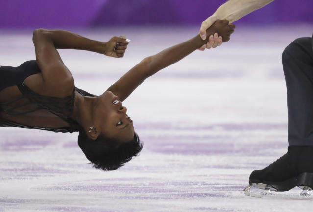 <p>Vanessa James and Morgan Cipres of France perform in the pairs free skate figure skating final in the Gangneung Ice Arena at the 2018 Winter Olympics in Gangneung, South Korea, Thursday, Feb. 15, 2018. (AP Photo/Bernat Armangue) </p>