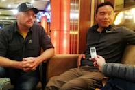 Dutch mountaineer Arnold Coster (L) and Chhang Dawa Sherpa, Nepali expedition manager and team leader of the K2 winter expedition